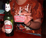 photo of Stella Artois beer promotion woman in Siem Reap